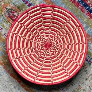 Vintage Large Coil Woven Basket or Wall Art Red